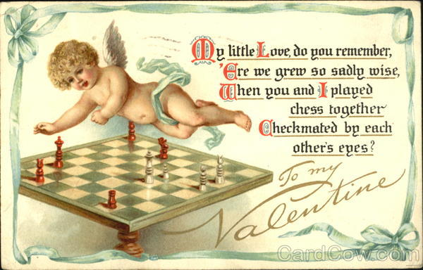 Cupid playing chess